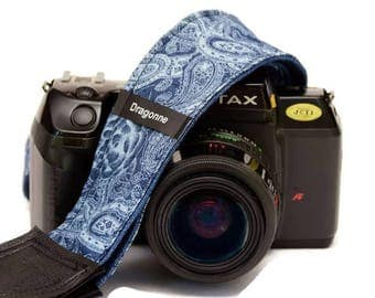 Handmade strap/Peasley jeans/Camera Strap/ Adjustable/Photography/Woman accessory/Classic/Original/Photographer/ Camera accessory/ Gift idea