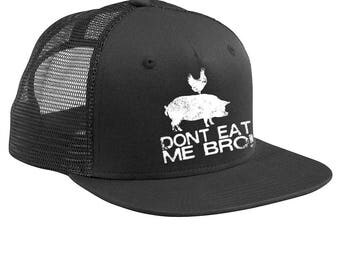 Dont Eat Me Bro Baseball Cap, Vegan Trucker Cap, Animal Rights Hats, Chicken on a Pig Hat, Funny Vegan Gifts, Dont Eat Meat Vegan Hat
