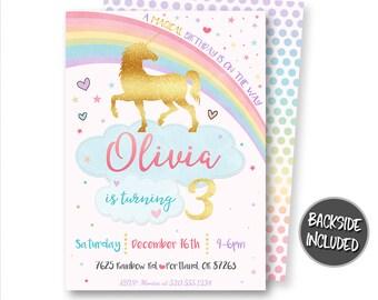 Unicorn Invitation, Unicorn Birthday Invitation, Unicorn Invitations, Unicorn Party, Unicorn Printables, Personalized, Rainbow Invitations