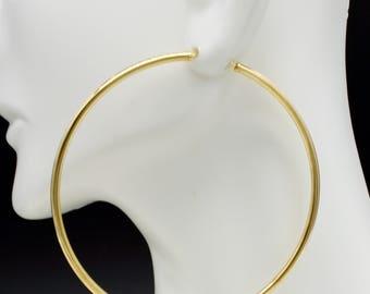 14k Solid Yellow Gold big Large Endless hoop Earrings. 60mm x 2MM 2.1gr #ga83