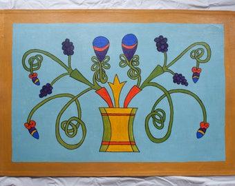 Celtic floral floor cloth