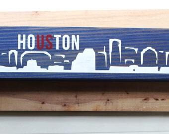 Blue Houston Skyline Sign//Mantle Decor//Houston Decor//Houston Strong//Houston Texas