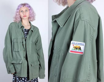 80s California Patch Army Jacket // Vintage Button Up Olive Drab Grunge Oversized Shirt - Extra Large to XXL