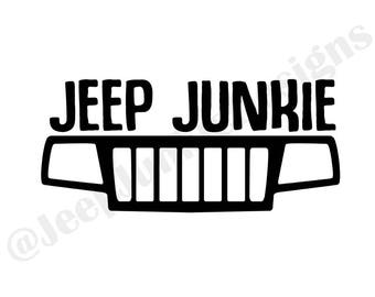 Jeep Junkie WJ Grill Vinyl Decal, Jeep Cherokee Decal, Jeep Cherokee Sticker, Jeep WJ Decal, Jeep WJ Sticker, Jeep Girl Decal, Jeep Girl