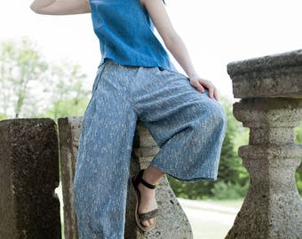 Culottes, Blue Culottes, Stripled Culottes, Cotton Culottes, Culottes with Pockets