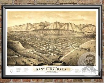 Santa Barbara, California Art Print From 1877 - Digitally Restored Old Santa Barbara, CA Map Poster - Perfect For Fans Of California History