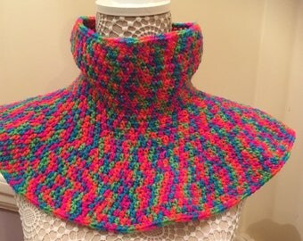 Bright Handcrochet/knit rainbow brights neckwarmer|Cowl scarf| womens gift|hippy scarf|Rasta bright rainbow scarf|neck warmer round scarf