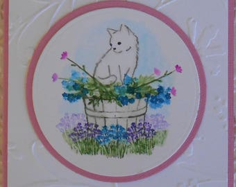 All Occasion Friendship Cat Kitty Flowers Note or Greeting Card