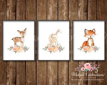 Boho Woodland Animals Set / 8x10 Nursery Art / Printable / Peaches and Cream / Instant Download/ Baby Shower Theme Decor / Bedroom Wall Art