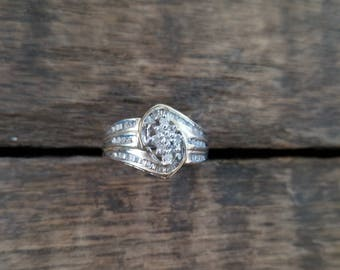 Ladies 10K Marquise-Shaped Cluster Ring