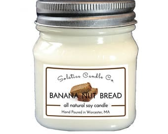 Banana Nut Bread Soy Candle | Mason Jar Candle | 8 oz | Wood Wick | All Natural | Hand Poured | Bakery | Home Decor