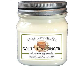 White Tea + Ginger Soy Candle | Mason Jar Candle | 8 oz | Wood Wick | All Natural | Hand Poured | Herbal | Home Decor