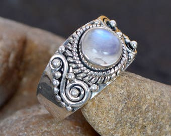 Natural Blue Flash Rainbow Moonstone Ring Unique Designer handmade Sterling Silver Ring Gemstone Ring