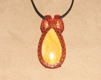 334 Tulip weaved amber and orange Mookaite teardrop with very wide bail