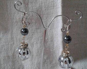 """Earrings """"big Pearl gray"""""""