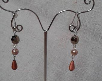 """""""Brown Pearl trio"""" earrings"""