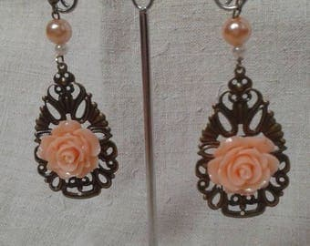 print and apricot Flower Earrings