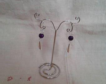 Purple and White Pearl Earrings