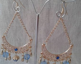 Blue beads and Oriental earrings
