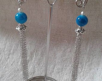 Blue beads and chains earrings