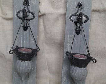 two candle holders wall patina gray Gustavian