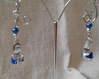 Earrings silver and blue sandal