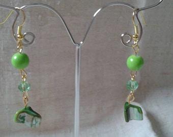 """""""stone"""" green pearl earrings"""