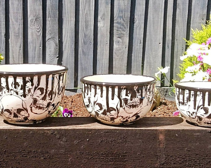 Skull Ceramic Planters, Hand Painted Pots, Set of Three, Gothic Plant Pots Unique Garden Gift, House Warming Present, Weird and Wonderful