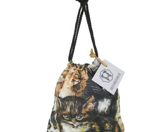 "Money bags with allover Tierprint ""cats"", bags, neccessories, storage"