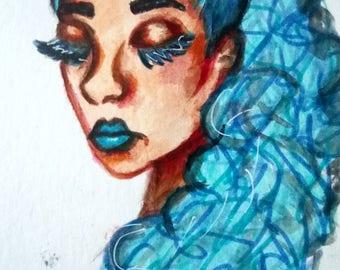 Girl illustration - blue hair