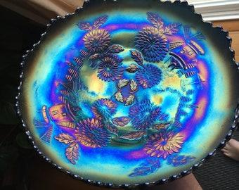 Fenton Chrysanthemum Blue Carnival Glass ICS Bowl