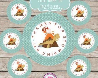Dinosaur Birthday Party Favor Tags Stickers Prehistoric Roar Volcano Dig Adopt A Dinosaur Party Fourth Birthday Thanks for Stomping By