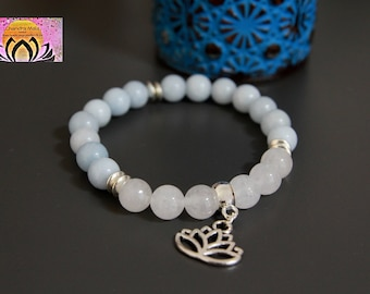 Aquamarine White Jade Silver Charm Bracelet-Beaded Stretchy Bracelet-Wrist Mala-Yoga Bracelet-Boho Chic Elegant Jewellery-Stacking Layering