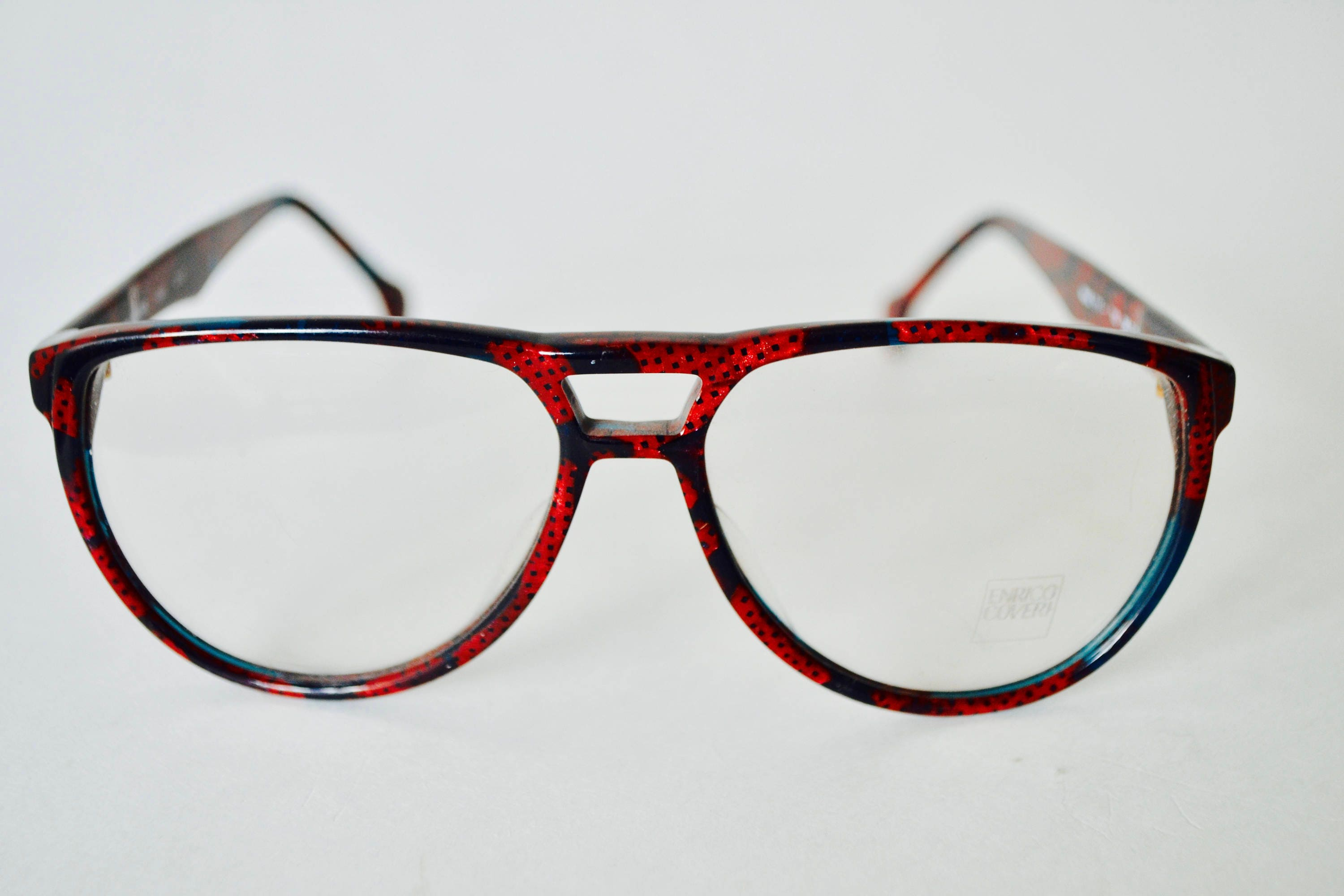 864c847364 Vintage Enrico Coveri MOD 111 Red Black and Green Eyeglasses Frame