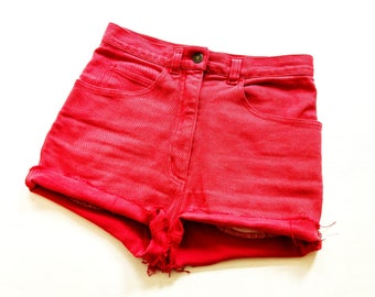 Denim 80s hiGh waiSt Hot PanTs size s VintaGe shorts pants 36 70s 70s 80s