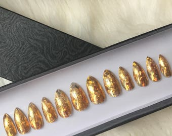 Gold foil hand Painted false nails