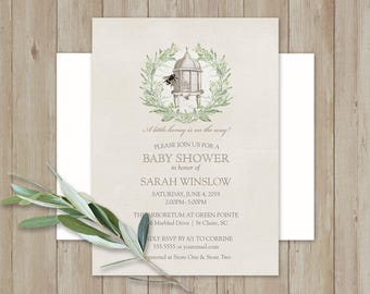 Bee Baby Shower Invitation Bee Hive Baby Shower Bumble bee Baby Shower Greenery Wreath Vintage Baby Shower Printed | DIY Home Print Template