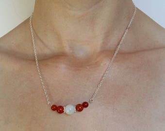 Fertility necklace / fertility / pregnancy desire: Moonstone & carnelian