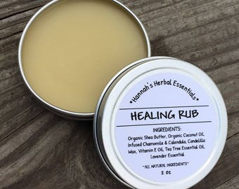 Healing Rub - Healing Salve -Natural Neosporin - Cuts-Scapes-Scar-Bruises-Vegan Salve-Organic Salve
