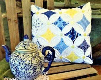Summer Breeze Cathedral Window Pillow