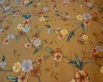 """Vintage - 1981 Covington 5th Avenue """"Lillian"""" fabric in Tan w/Teal-Mauve, or Natural w/Blue-Brown Floral"""