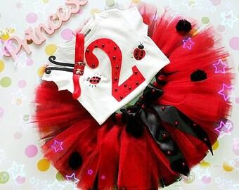 Birthday Ladybug Red And Black Tutu, Fluffy Tutu, Ladybug tutu set, Ladybug set ; 1st,2nd,3rd,4th,5th Birthday, ladybug 2nd Birthday