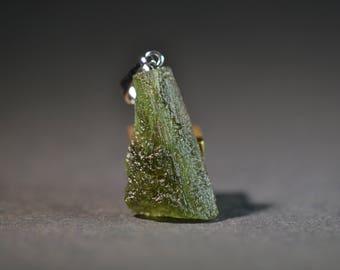 Rare Moldavite Pendant - Natural Stone Pendant  - Natural Tektite Glass - TOP quality - Raw Stone Pendant - 7.5 ct