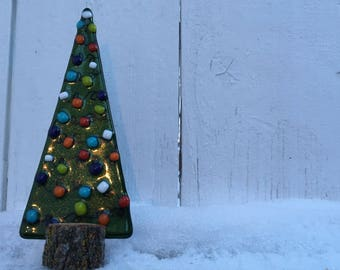 fused glass christmas tree christmas decoration glass tree fused glass tree - Glass Christmas Tree
