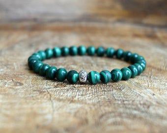 Genuine Malachite / Mala Bracelet / Hill Tribe Silver / Healing Bracelet / Yoga Jewelry / Spiritual Jewelry / Stretch Bracelet