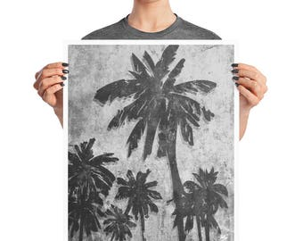 California Love Palm Tree Grunge Poster, 8x10, 16X20, Abstract Modern Print