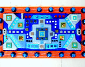 """blue maze"" sculpture, painting and joyful mosaic"