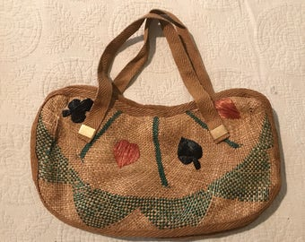 Card suit woven hand bag