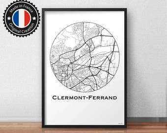 Card Clermont-Ferrand Minimalist Map poster. City map, city Poster, wall decor, map, print of Art. MP0095