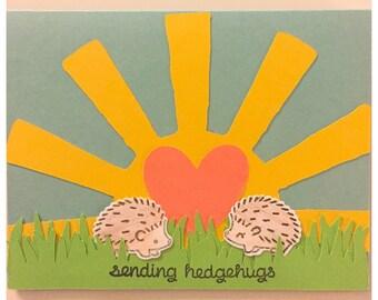 "Hedgehog Greeting Card - ""Sending hedgehugs"" - handmade to send happiness"